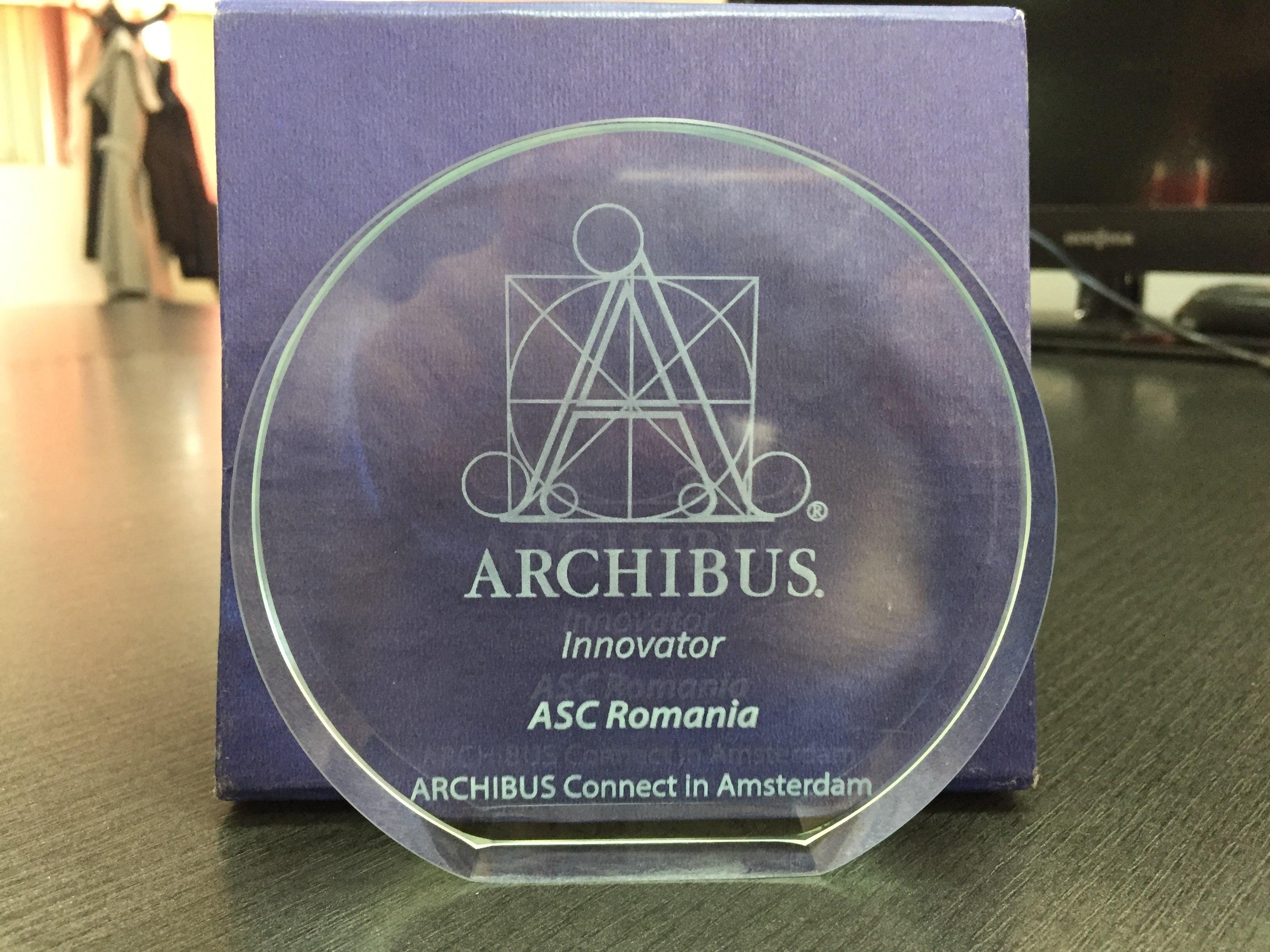 Premiu pentru inovatie ARCHIBUS Solution Center - Romania, Amsterdam 2018